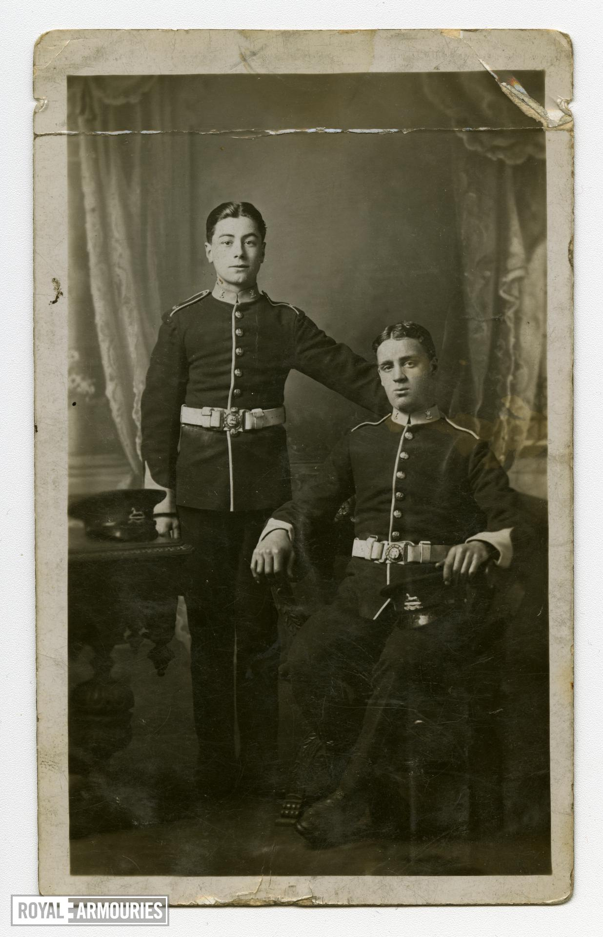 Photograph of Lance Sergeant Thomas Queenan and colleague in dress uniform, 1st West Yorkshire regiment. (XVIII.461)