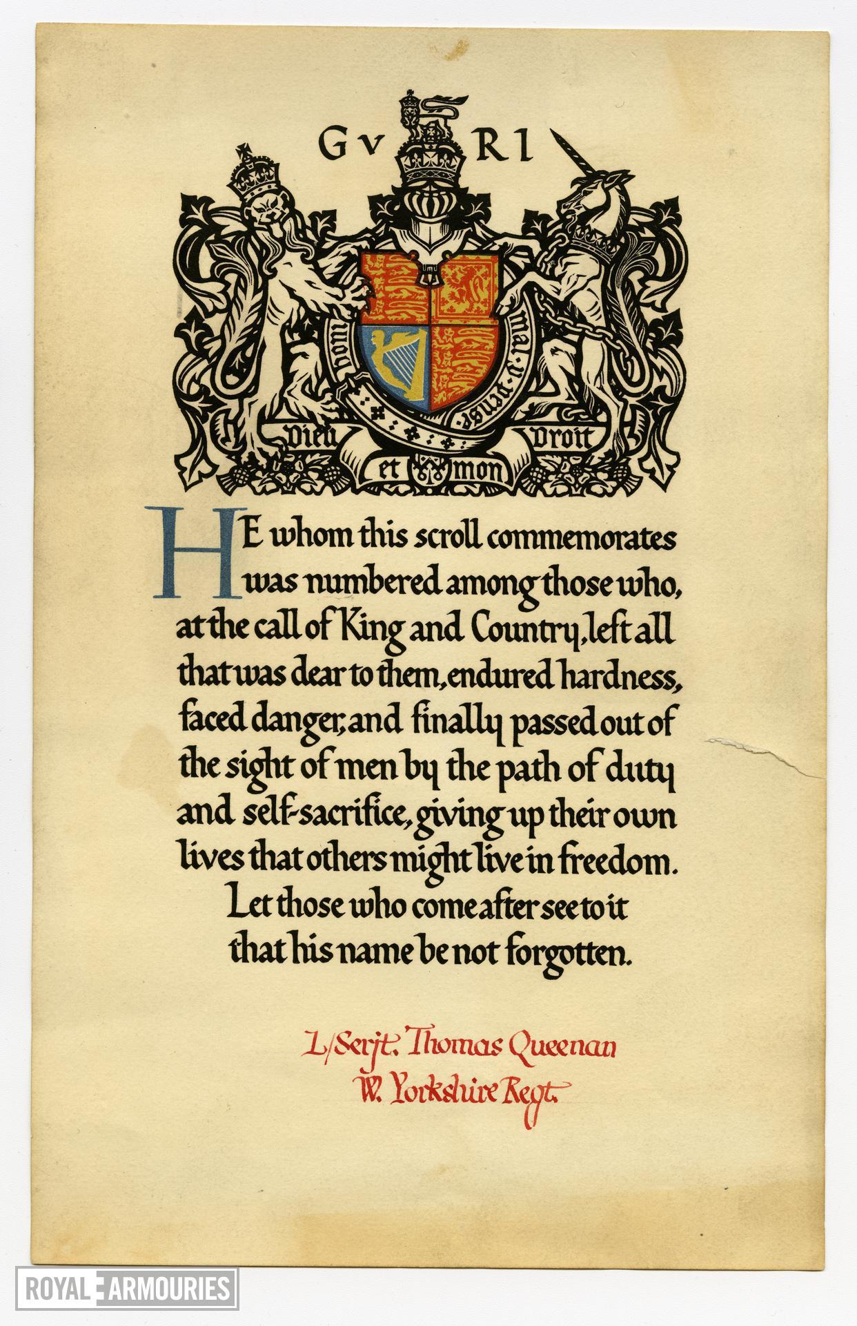 Memorial Scroll to Lance Sergeant Thomas Queenan, 1st West Yorkshire Regiment. (XVIII.461)
