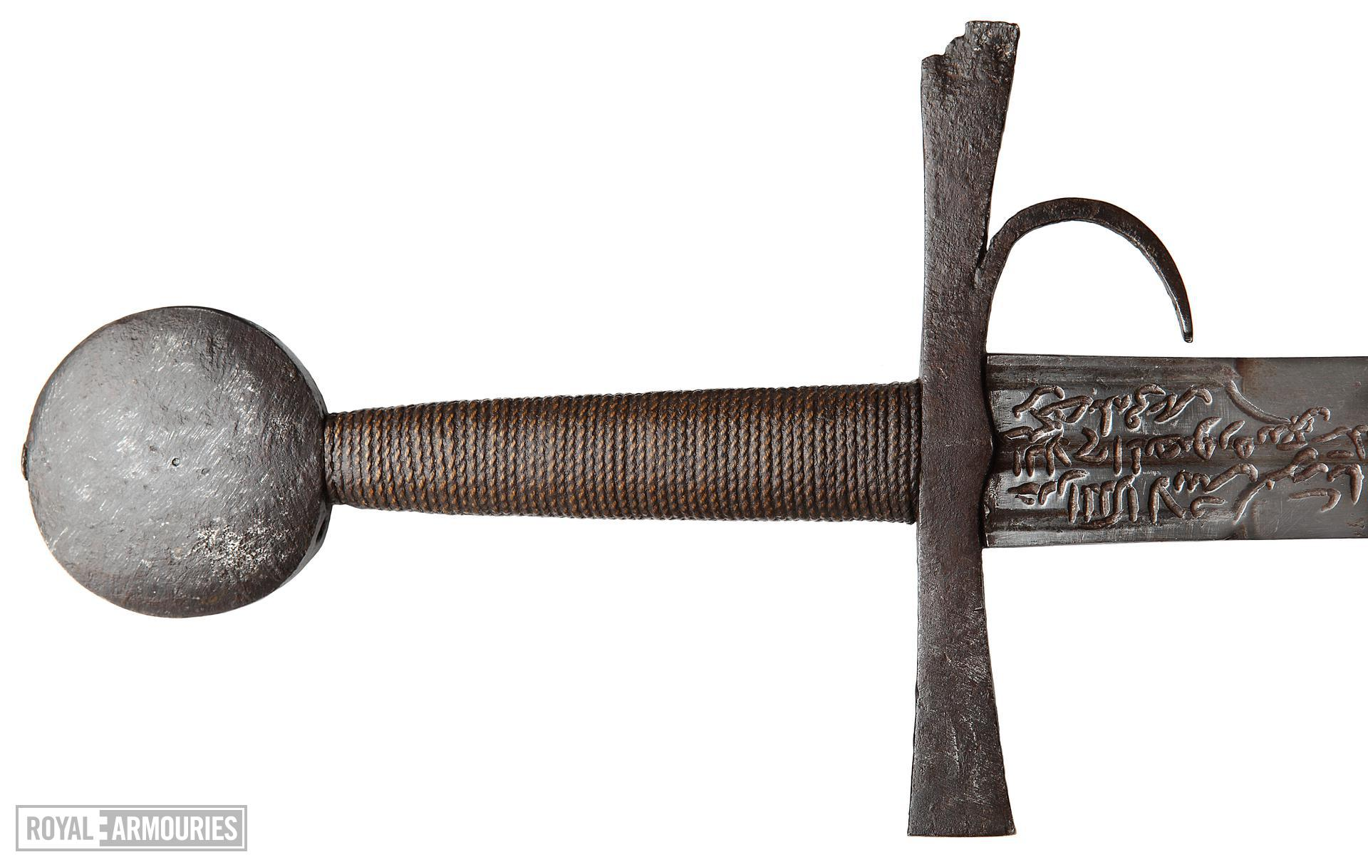 Sword. European, probably Italian, late 14th or early 15th century. The hilt with a finger guard and marked with the date 1432. Sword, blade Oakeshott Type XIX; pommel Oakeshott Type G; cross-guard Oakeshott Type 5