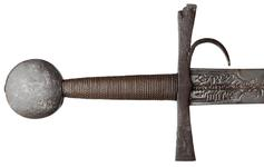 Thumbnail image of Sword. European, probably Italian, late 14th or early 15th century. The hilt with a finger guard and marked with the date 1432. Sword, blade Oakeshott Type XIX; pommel Oakeshott Type G; cross-guard Oakeshott Type 5