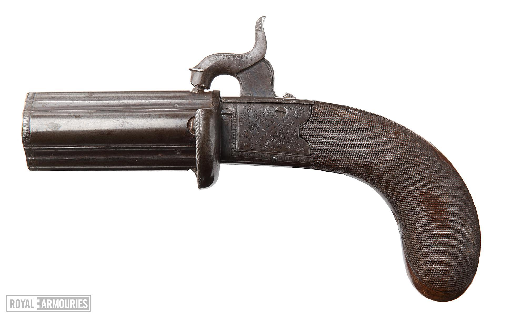 Percussion four shot pepperbox pistol,  English, about 1845, by Davison, Newcastle. (XII.4154)