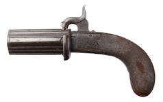 Thumbnail image of Percussion four shot pepperbox pistol,  English, about 1845, by Davison, Newcastle. (XII.4154)