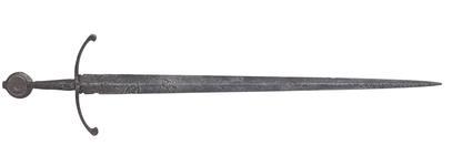 Thumbnail image of Sword, of Oakeshott type XVIII, possibly English, 15th century (IX.1426)