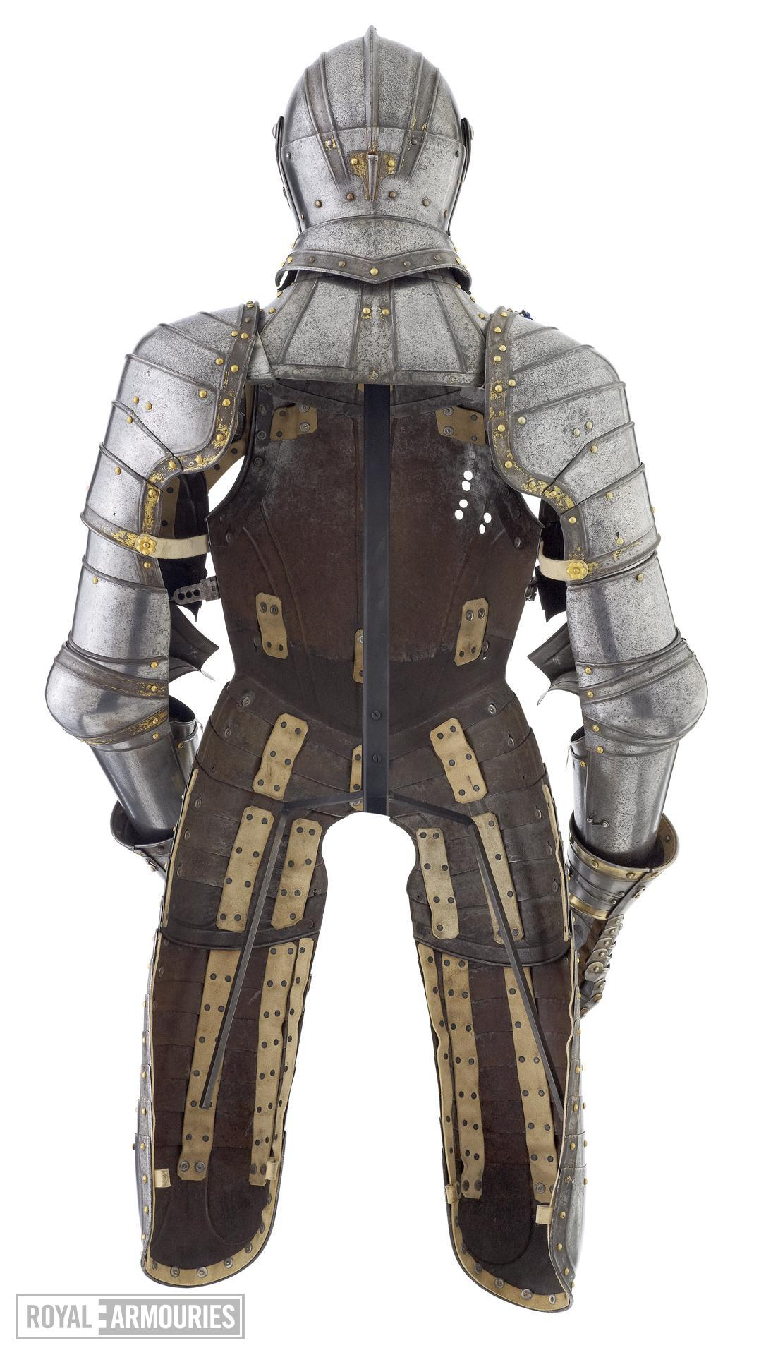 Three quarter armour, of William Herbert 1st Earl of Pembroke, or Henry Herbert 2nd Earl. The right gauntlet is restored and the backplate is missing. English, Greenwich, about 1550