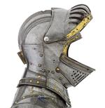 Thumbnail image of Three quarter armour, of William Herbert 1st Earl of Pembroke, or Henry Herbert 2nd Earl. The right gauntlet is restored and the backplate is missing. English, Greenwich, about 1550