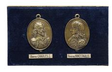 Thumbnail image of Facsimile of a pair of 'Forlorn Hope' medals, showing Charles I wearing the Lion Armour (XVIII.564)