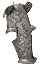Thumbnail image of Shaffron from II.81, the armour of Robert Dudley Earl of Leicester. English, Greenwich, about 1575 (VI.49)