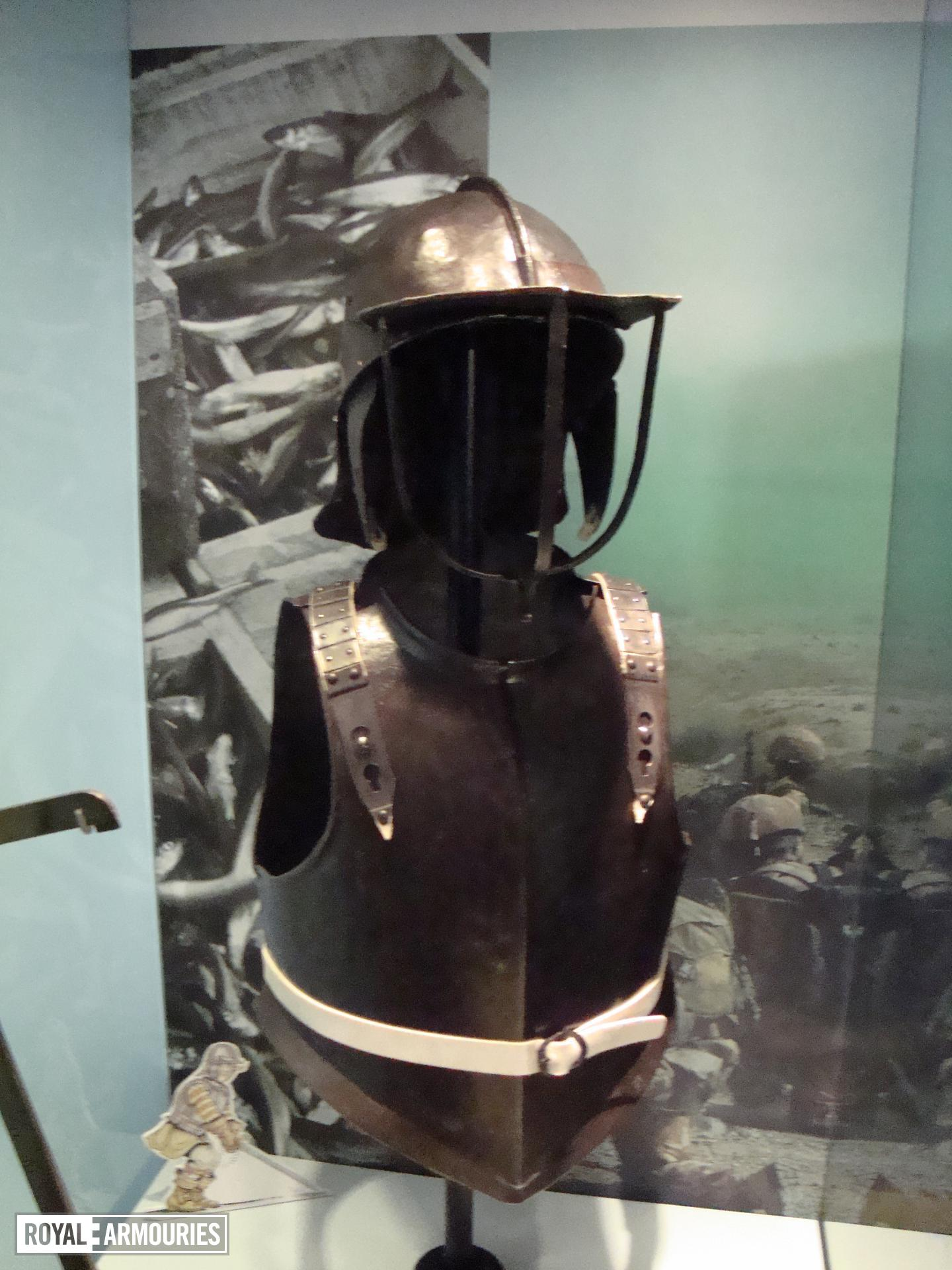 The breatplate on display with the rest of the armour in Liverpool.
