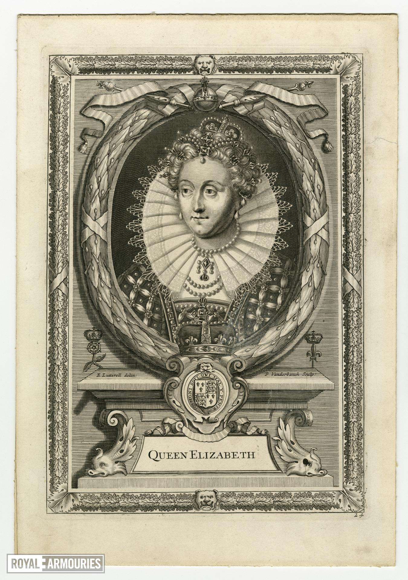 Engraving of Elizabeth I by E. Lutterell and P. Vanderbanck