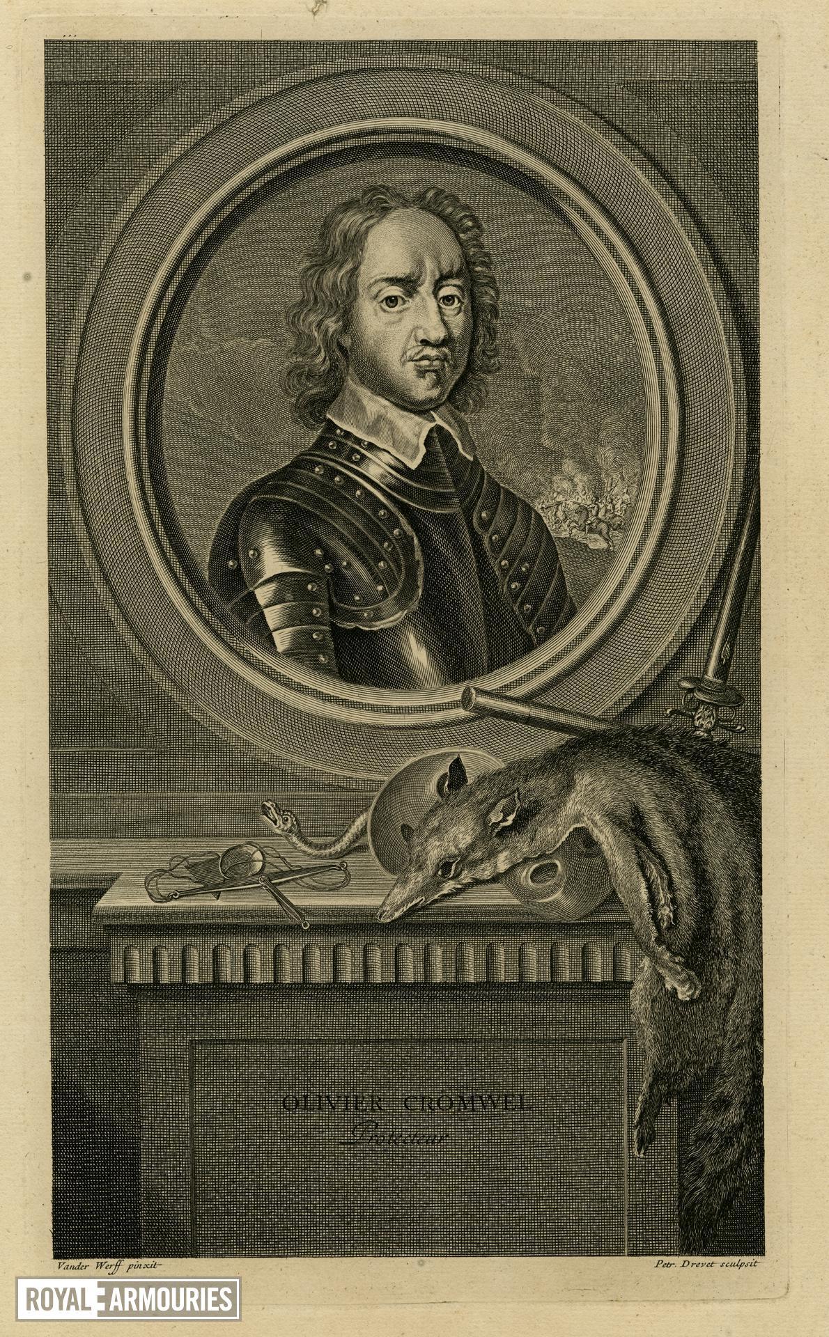 Engraving of Oliver Cromwell 'Protecteur' by Vander Werff and Petr Drevet