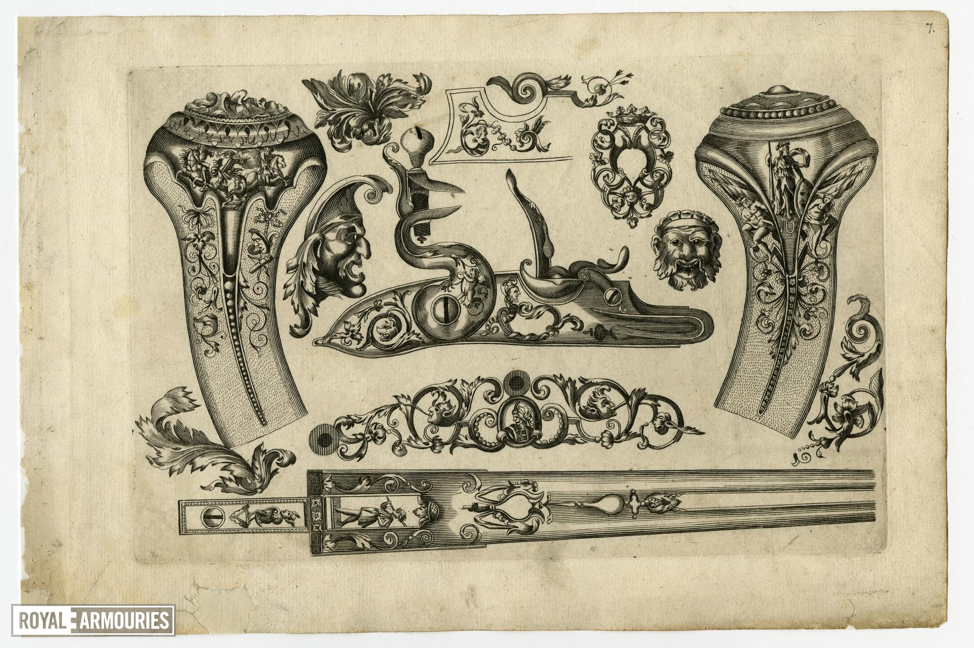 7/8 leaves of engraved ornament for parts of flintlocks.
