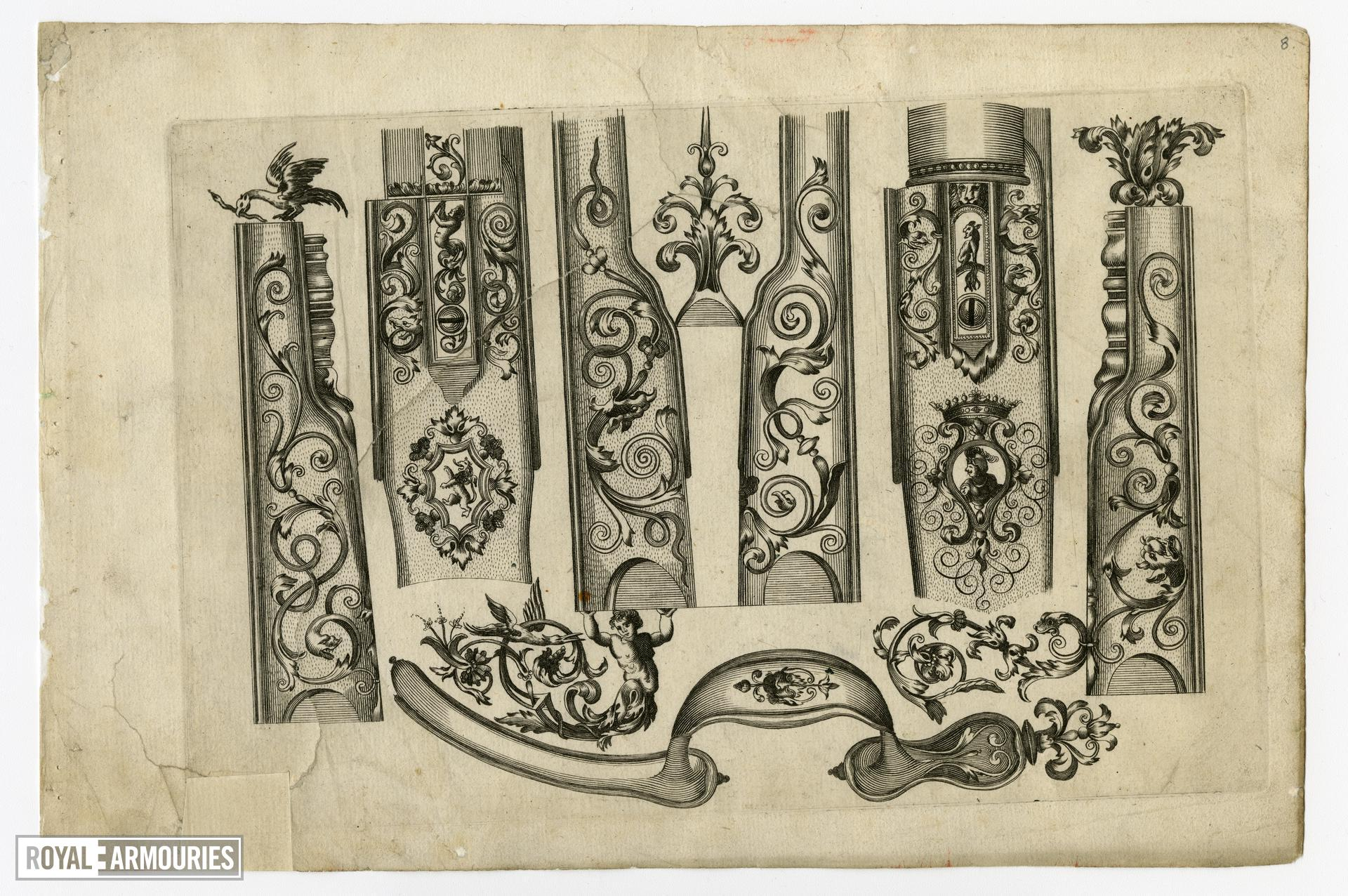 8/8 leaves of engraved ornament for parts of flintlocks.