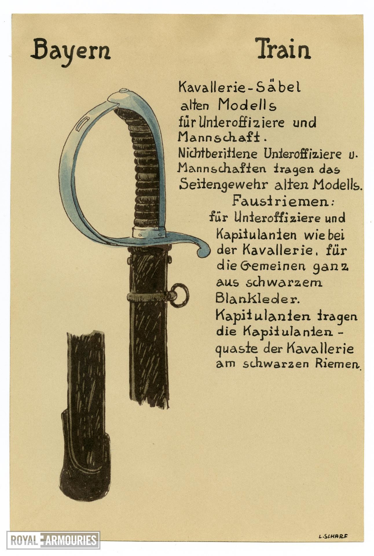 1/7 coloured drawings of German military swords.