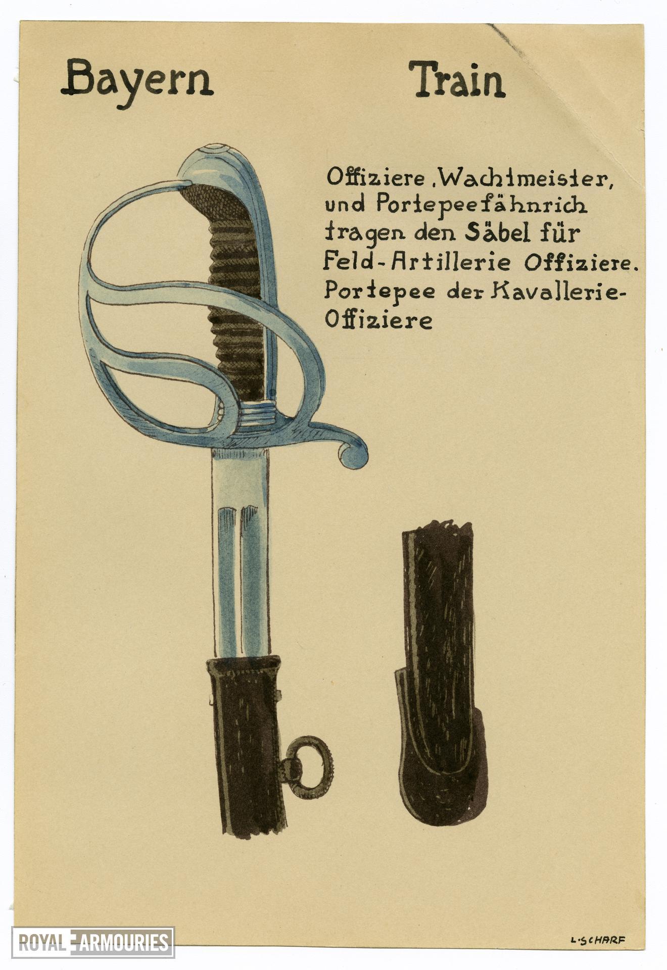 2/7 coloured drawings of German military swords.