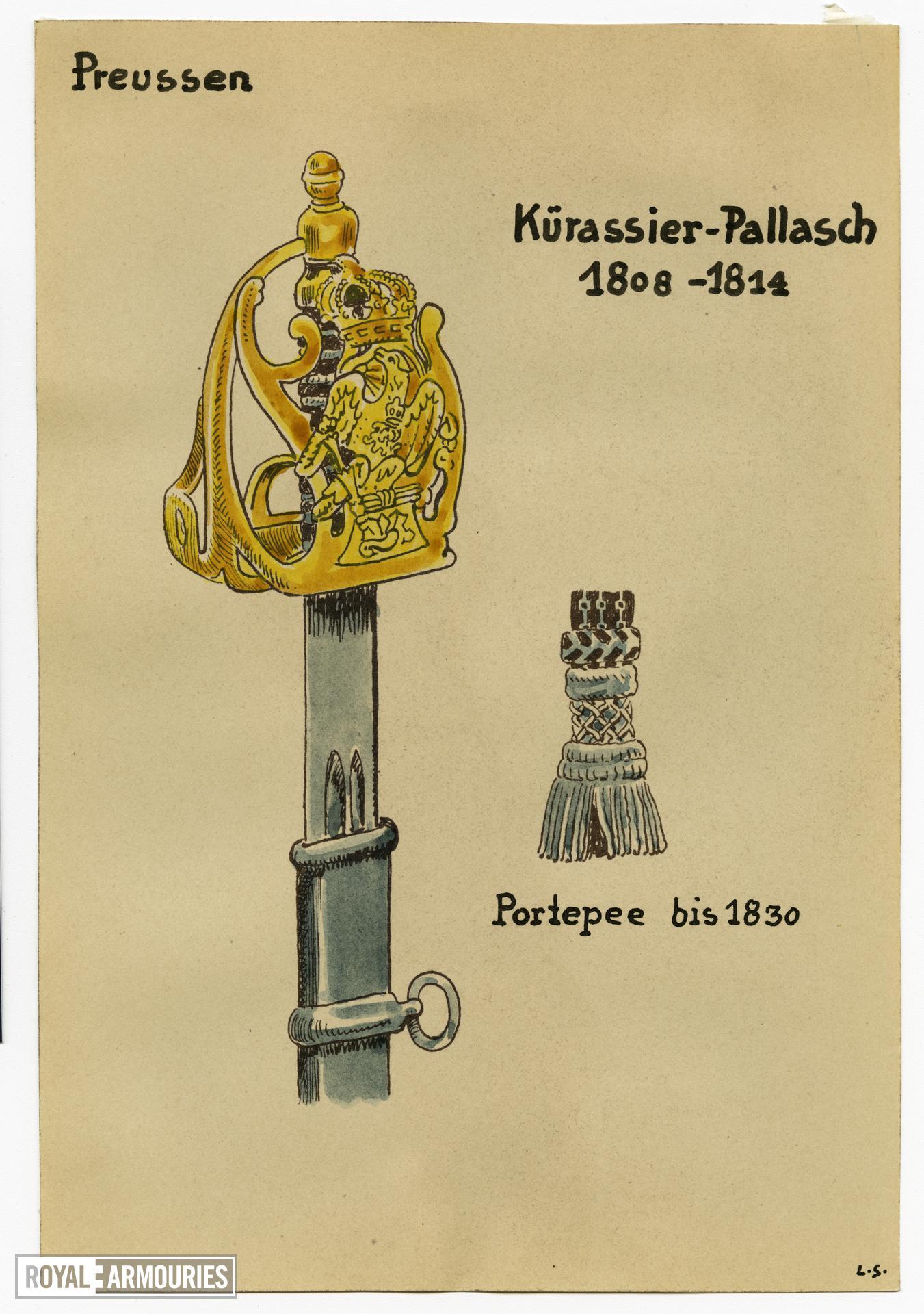 3/7 coloured drawings of German military swords.