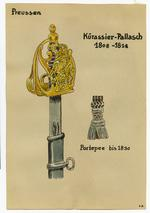 Thumbnail image of 3/7 coloured drawings of German military swords.