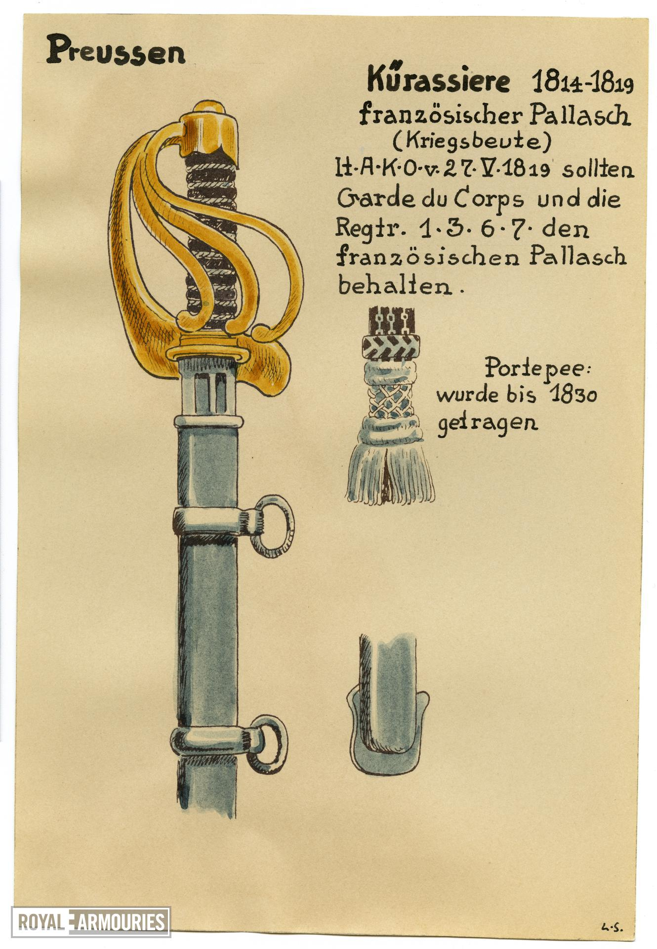 4/7 coloured drawings of German military swords.