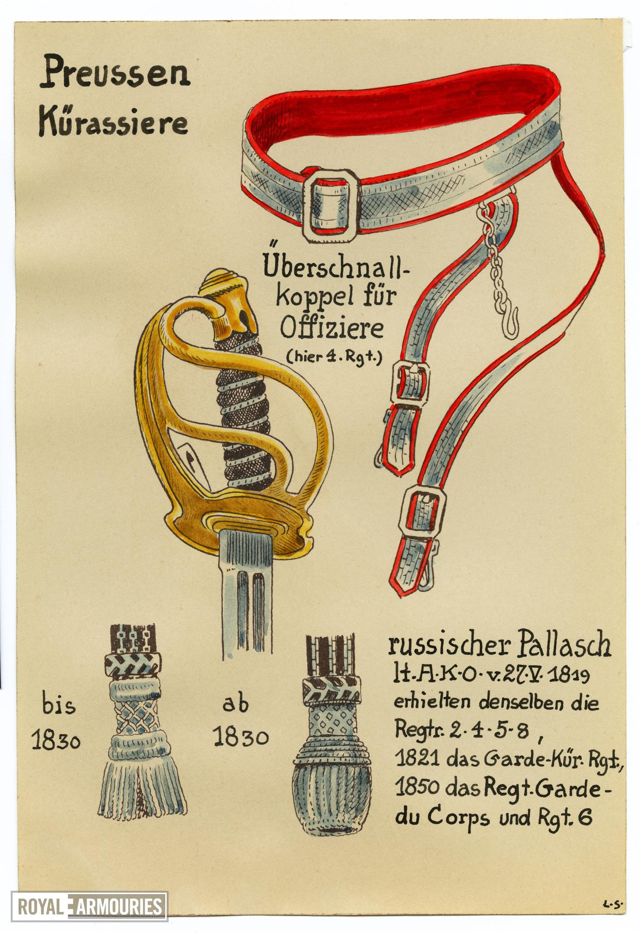 5/7 coloured drawings of German military swords.