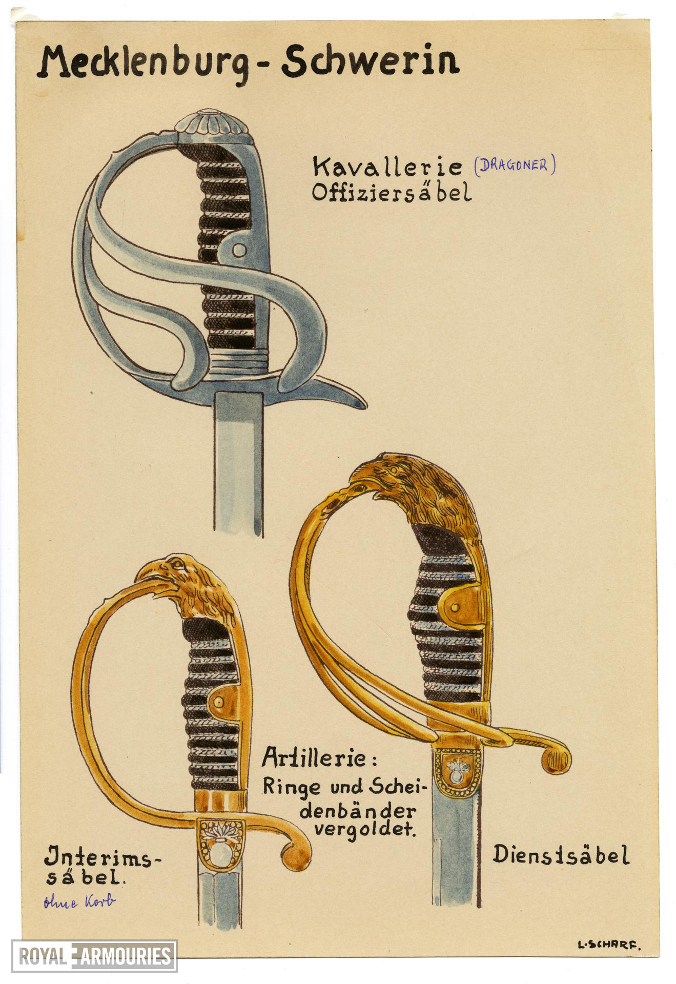 6/7 coloured drawings of German military swords.