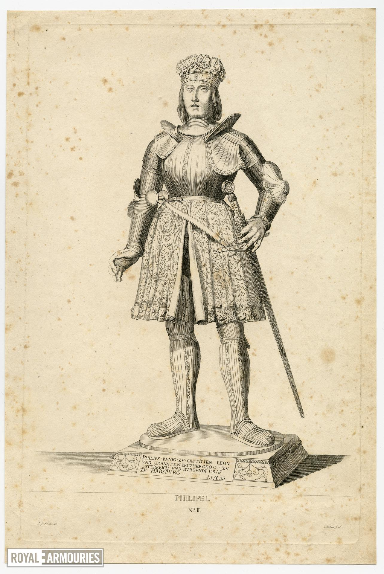 2/8 engravings of statues. No. II Philipp I.