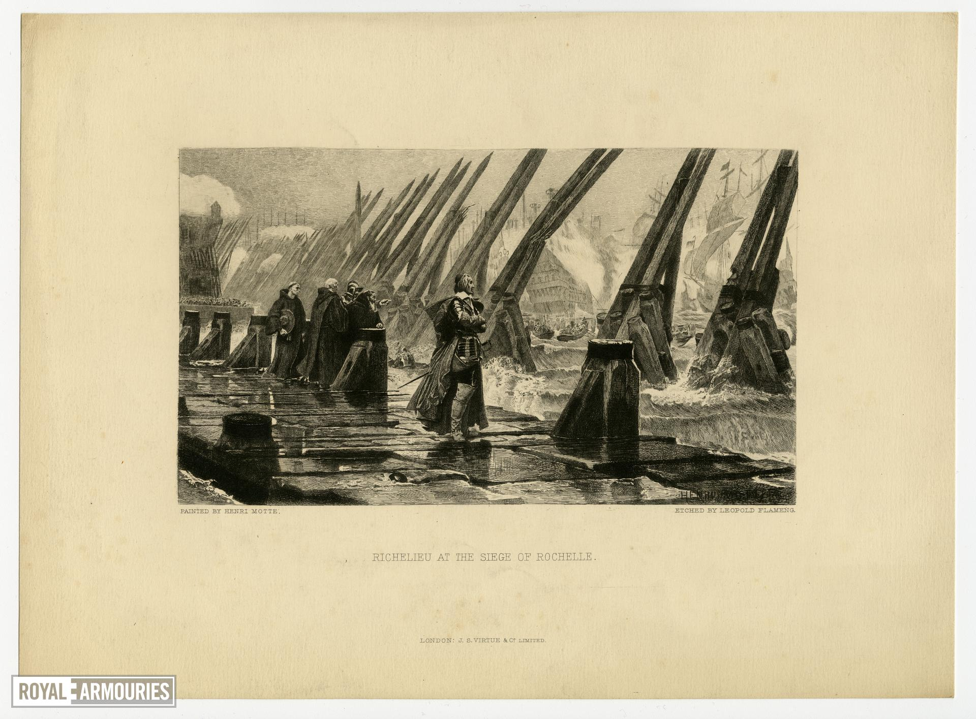Print entitled 'Richelieu at the Siege of Rochelle'.