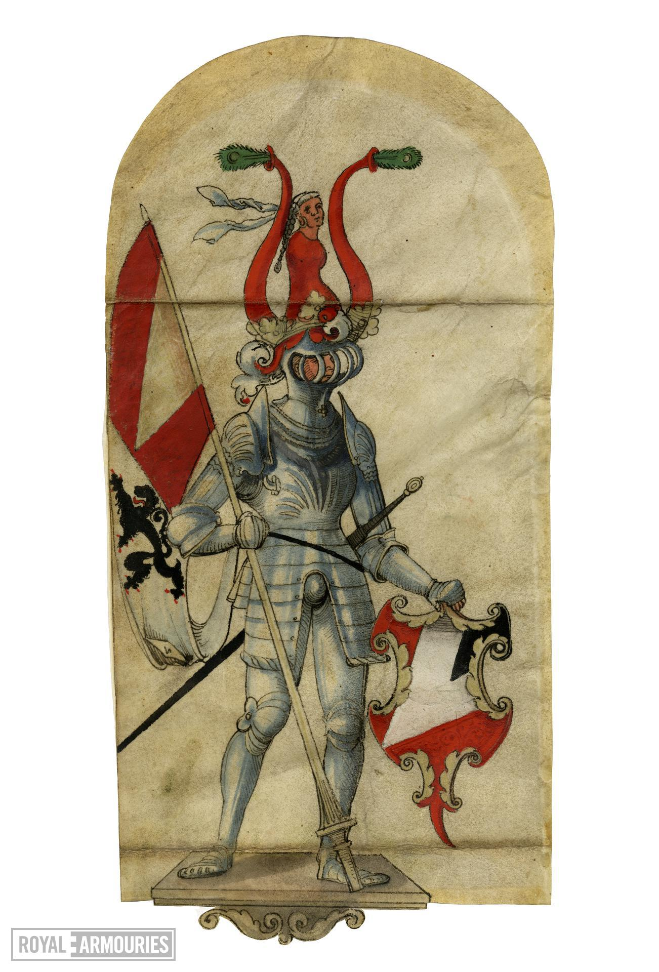 Heraldic drawing of man in armour