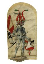 Thumbnail image of Heraldic drawing of man in armour