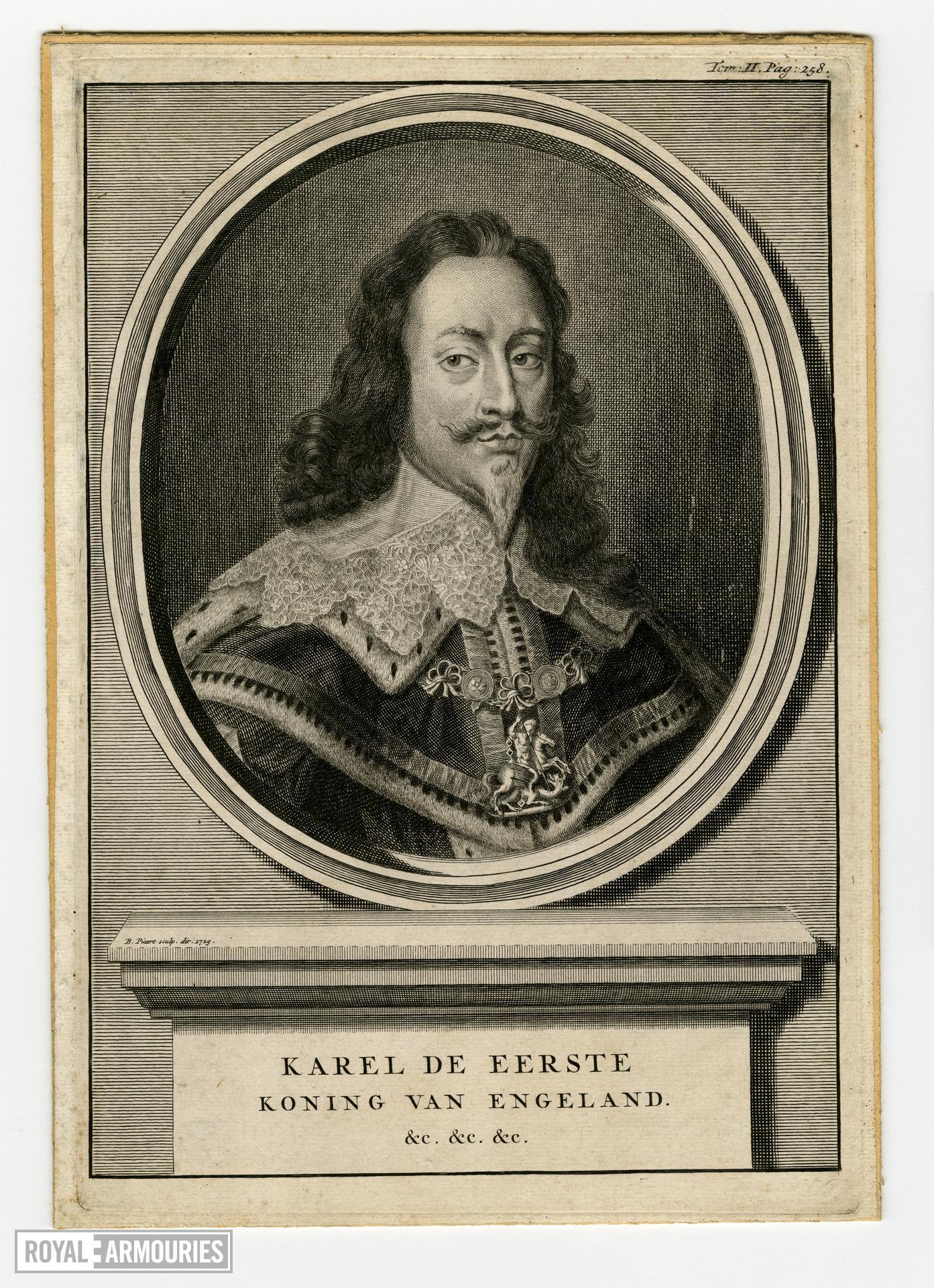 Engraving of Karel de Eerste, Koning van Engeland