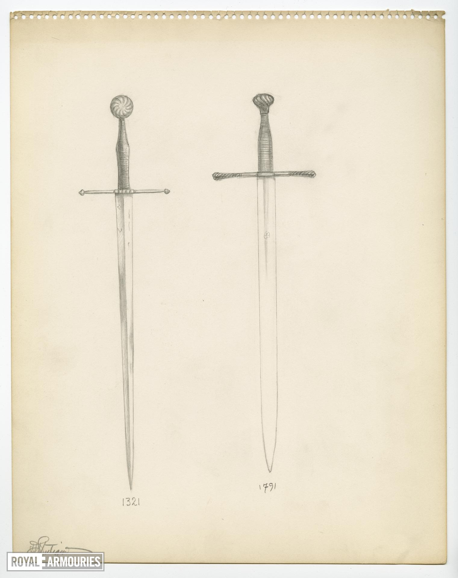 18 sheets of sketches of various swords, signed by H. Lutiger