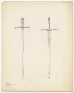 Thumbnail image of 18 sheets of sketches of various swords, signed by H. Lutiger
