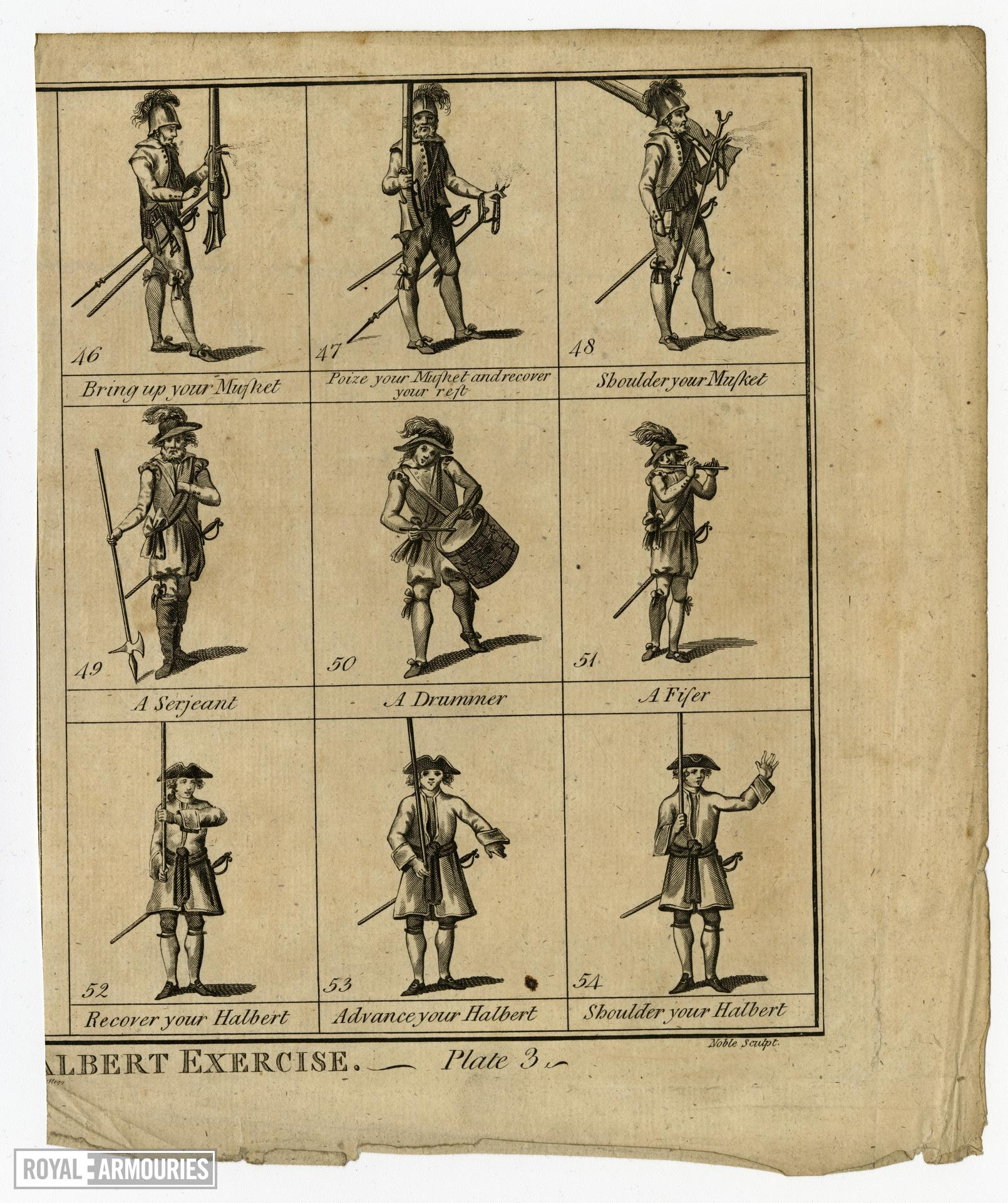 The Antient English Musket & Halbert Exercise. Plate 3'