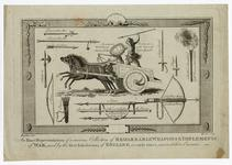 Thumbnail image of Images of various weapons used by early Britons, featuring a chariot in centre.