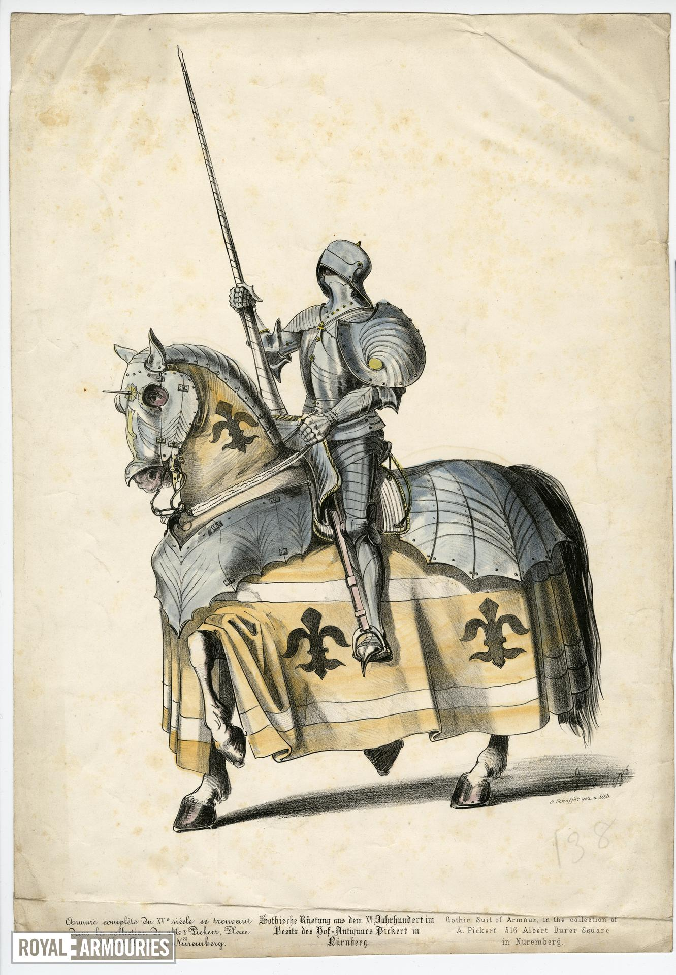 Coloured lithograph of Gothic suit of armour
