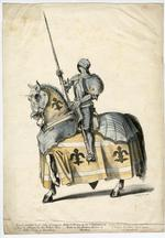 Thumbnail image of Coloured lithograph of Gothic suit of armour
