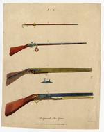 Thumbnail image of Coloured engraving entitled 'Improved Air Guns'
