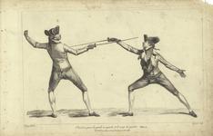 Thumbnail image of Fencing illustration: 'Position pour la garde en quarte et le coup de quarte'.
