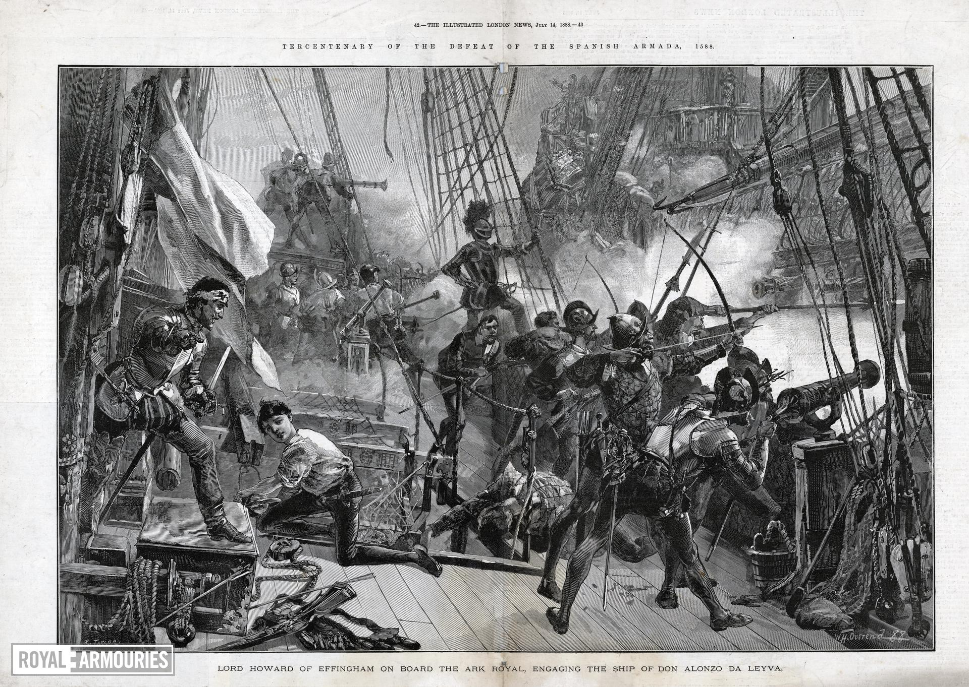 Engraving, 'Lord Howard of Effingham on Board the Ark Royal, Engaging the Ship of Don Alonzo da Leyva'