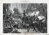 Thumbnail image of Engraving, 'Lord Howard of Effingham on Board the Ark Royal, Engaging the Ship of Don Alonzo da Leyva'