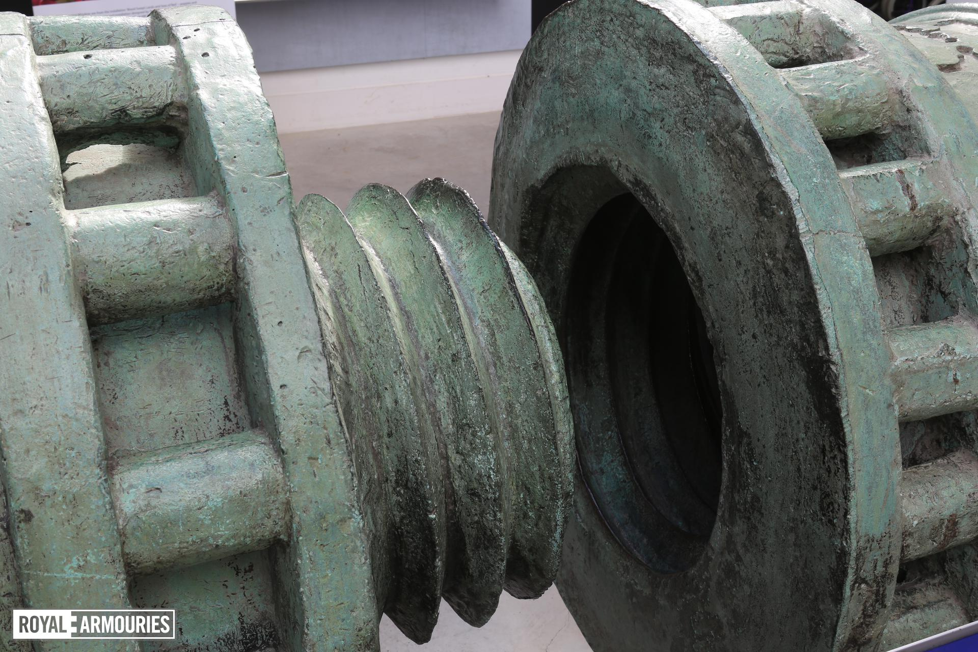 View of the great bronze gun, 'The Dardanelles Gun,' dated 1464, Turkey, situated within the Voice of the Guns Gallery, (XIX.164), Royal Armouries Museum, Fort Nelson, Fareham, United Kingdom