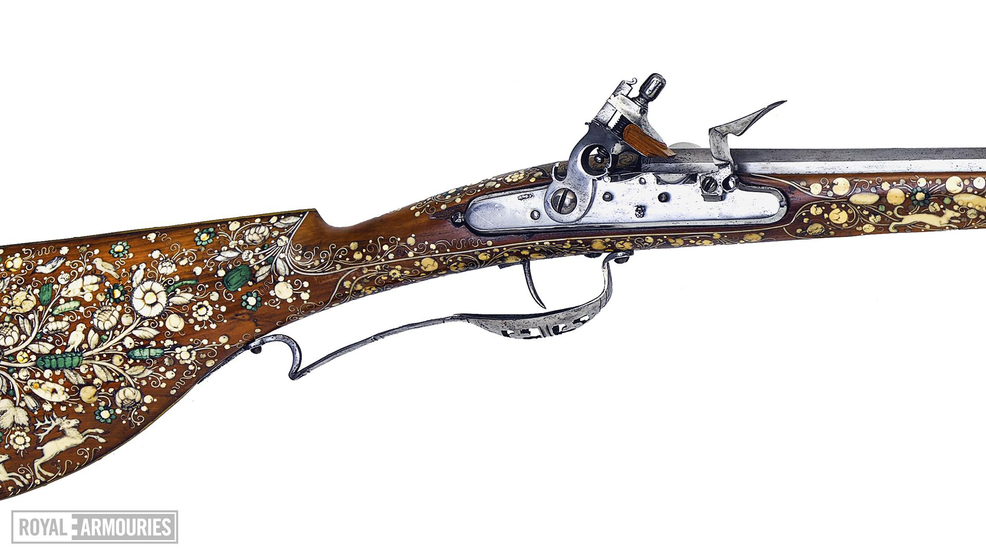Flintlock sporting gun - by Jean Conrad Tornier Lock by Franz Kruter, Solothurn, Switzerland