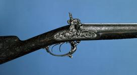 Thumbnail image of Percussion double-barrelled shotgun - LePage-Moutier exhibition gun heavily decorated
