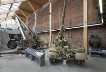 Thumbnail image of 88 mm Flak 36 anti aircraft / anti armour gun, about 1939-45, Germany, by Rheinmetall (foreground XIX.331) and a 3.7 inch Mark II Anti Aircraft gun on a Mark III mobile carriage, about 1943, Britain (background XIX.840.) situated on the lower floor of the Voice of the Guns Gallery, Royal Armouries Museum, Fort Nelson, Fareham, United Kingdom © Jonty Wilde
