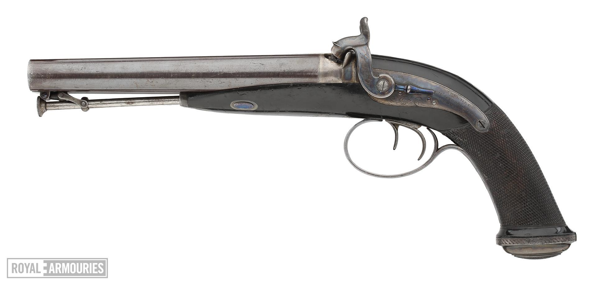 Percussion double-barrelled pistol - Howdah or holster pistol by J. Purdey One of a pair, see XII.1388.
