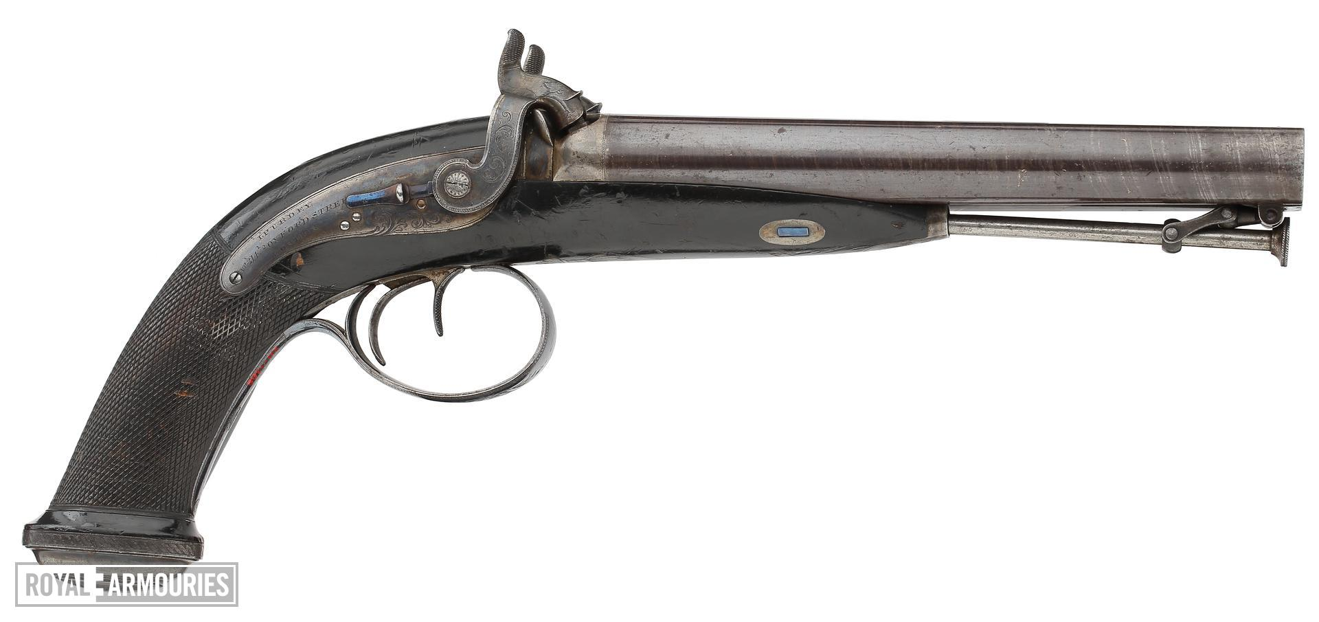 Percussion double-barrelled pistol - Howdah or holster pistol by J. Purdey One of a pair; see XII.1387.
