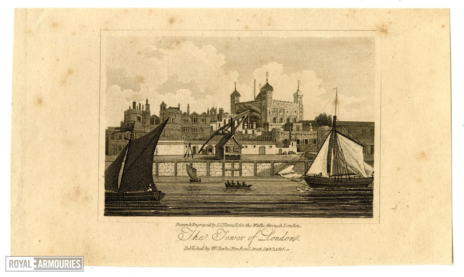 Print The Tower of London, dated 1815